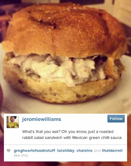 Jeromie Williams Eats a Rabbit Sandwich
