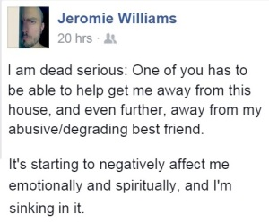jeromie williams asks to be rescued